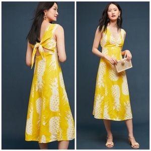 Anthropologie Maeve pineapple midi dress
